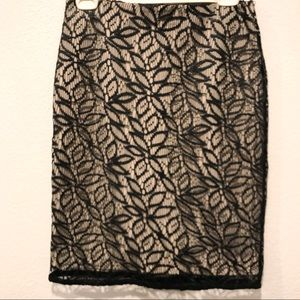 ANN TAYLOR Faux Leather Floral Overlay Skirt